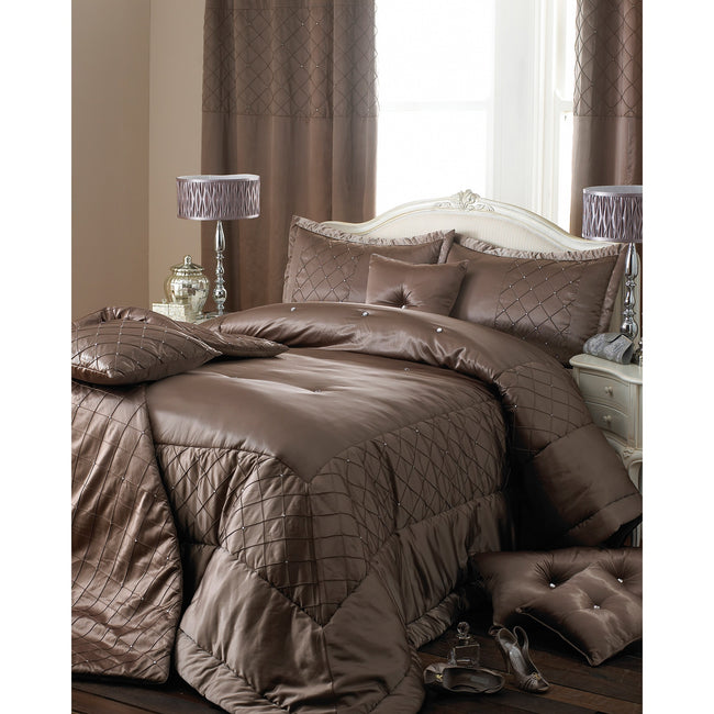 Taupe - Front - Riva Home Cristal Ringtop Curtains