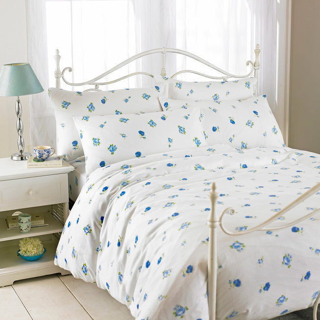 Blue - Front - Riva Home Rose Printed Flannelette Flat Sheet