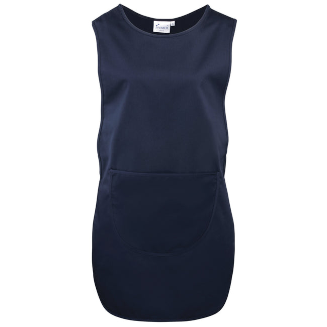 Navy - Front - Premier Ladies-Womens Long Length Pocket Tabard-Workwear
