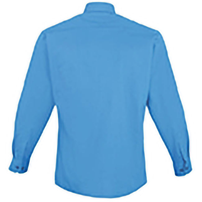 Sapphire - Front - Premier Mens Long Sleeve Formal Plain Work Poplin Shirt
