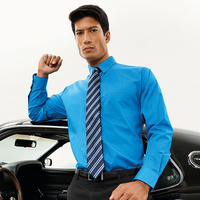 Sapphire - Back - Premier Mens Long Sleeve Formal Plain Work Poplin Shirt