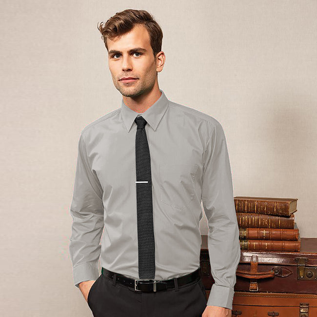 Silver - Front - Premier Mens Long Sleeve Formal Plain Work Poplin Shirt