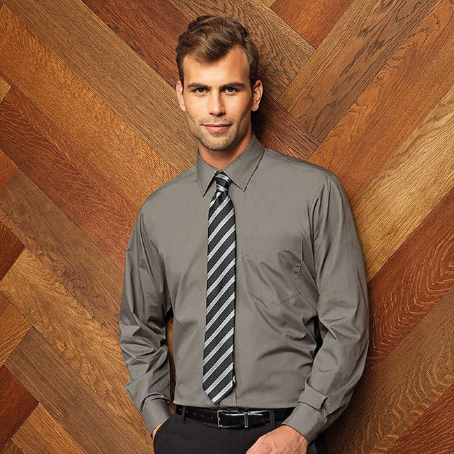 Steel - Front - Premier Mens Long Sleeve Formal Plain Work Poplin Shirt