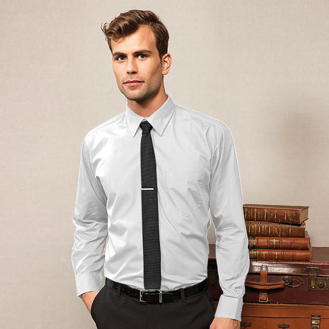 White - Front - Premier Mens Long Sleeve Formal Plain Work Poplin Shirt