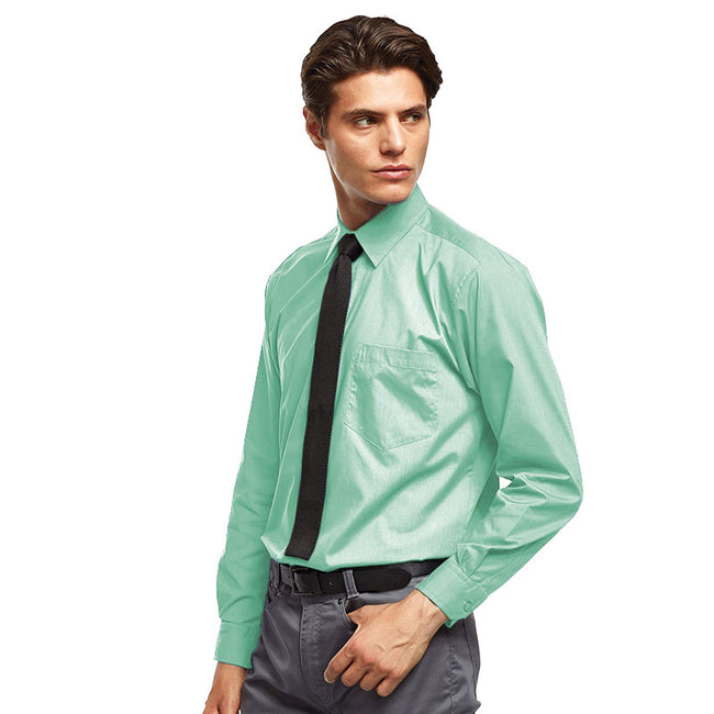 Aqua - Front - Premier Mens Long Sleeve Formal Plain Work Poplin Shirt