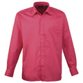 Aqua - Back - Premier Mens Long Sleeve Formal Plain Work Poplin Shirt