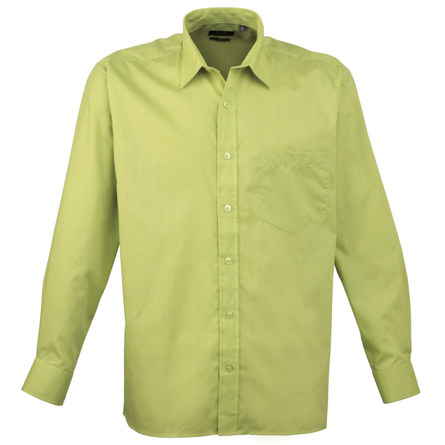 Lilac - Back - Premier Mens Long Sleeve Formal Plain Work Poplin Shirt