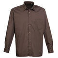 Brown - Front - Premier Mens Long Sleeve Formal Plain Work Poplin Shirt