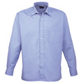 Lime - Back - Premier Mens Long Sleeve Formal Plain Work Poplin Shirt