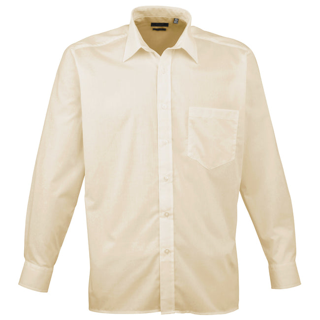 Mid Blue - Back - Premier Mens Long Sleeve Formal Plain Work Poplin Shirt