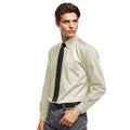 Natural - Front - Premier Mens Long Sleeve Formal Plain Work Poplin Shirt