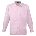 Natural - Back - Premier Mens Long Sleeve Formal Plain Work Poplin Shirt