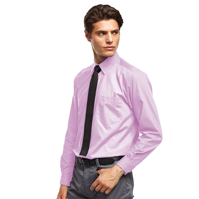 Pink - Front - Premier Mens Long Sleeve Formal Plain Work Poplin Shirt
