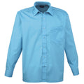 Purple - Back - Premier Mens Long Sleeve Formal Plain Work Poplin Shirt