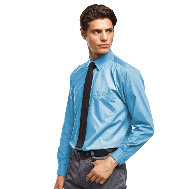 Turquoise - Front - Premier Mens Long Sleeve Formal Plain Work Poplin Shirt