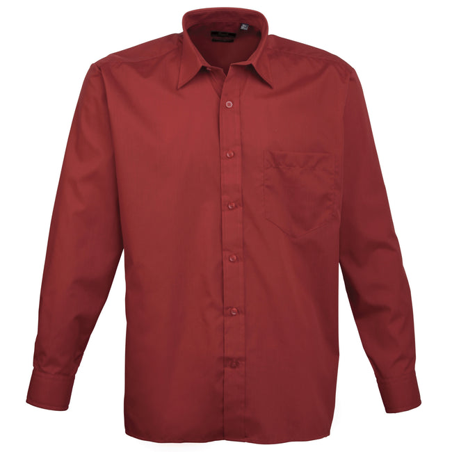 Burgundy - Front - Premier Mens Long Sleeve Formal Plain Work Poplin Shirt
