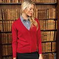 Red - Back - Premier Womens-Ladies Button Through Long Sleeve V-neck Knitted Cardigan