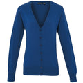 Royal - Front - Premier Womens-Ladies Button Through Long Sleeve V-neck Knitted Cardigan