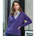 Purple - Back - Premier Womens-Ladies Button Through Long Sleeve V-neck Knitted Cardigan