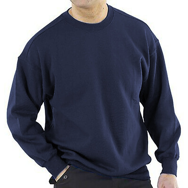 Navy - Back - RTY Workwear Mens Plain Crew Neck Sweatshirt