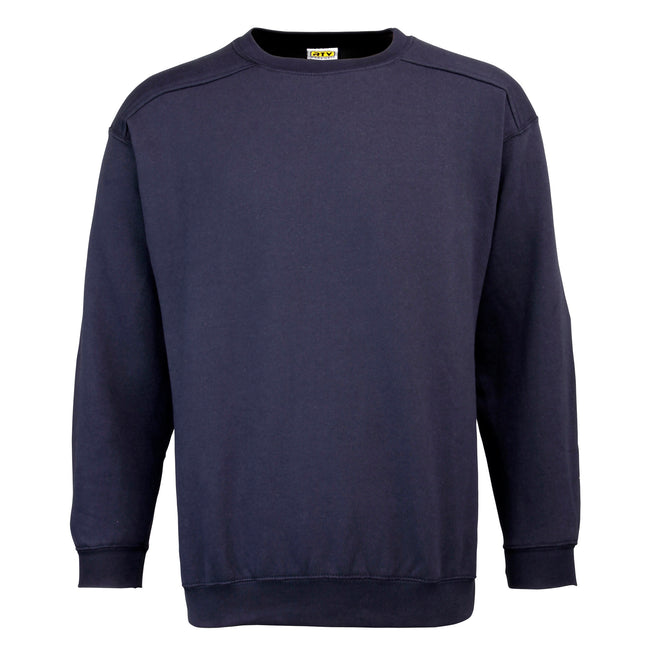 Navy - Front - RTY Workwear Mens Plain Crew Neck Sweatshirt