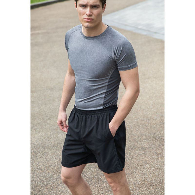 Black - Side - Tombo Teamsport Mens Lined Performance Sports Shorts