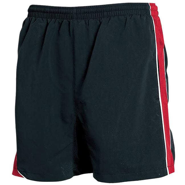 Black-Red- White Piping - Front - Tombo Teamsport Mens Lined Performance Sports Shorts