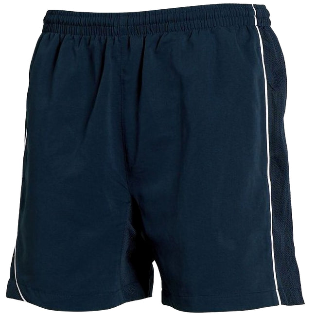 Navy-Navy- White Piping - Front - Tombo Teamsport Mens Lined Performance Sports Shorts
