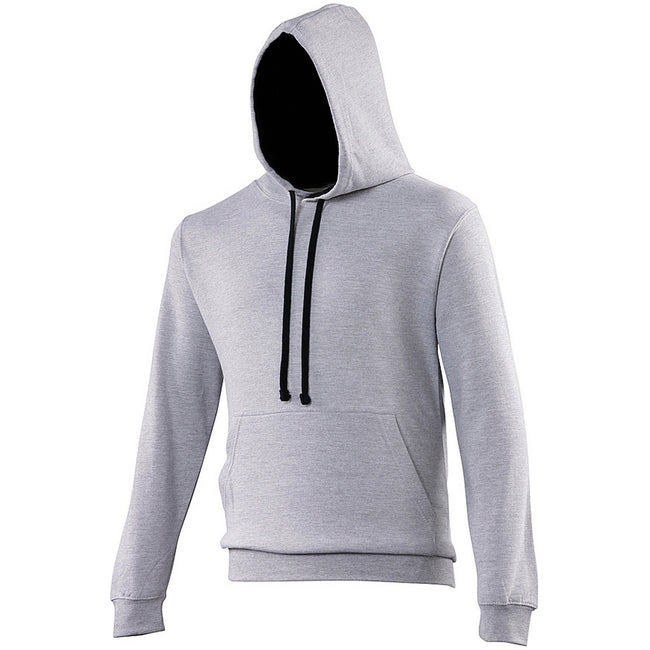 Heather Gray- Jet Black - Front - Awdis Varsity Hooded Sweatshirt - Hoodie