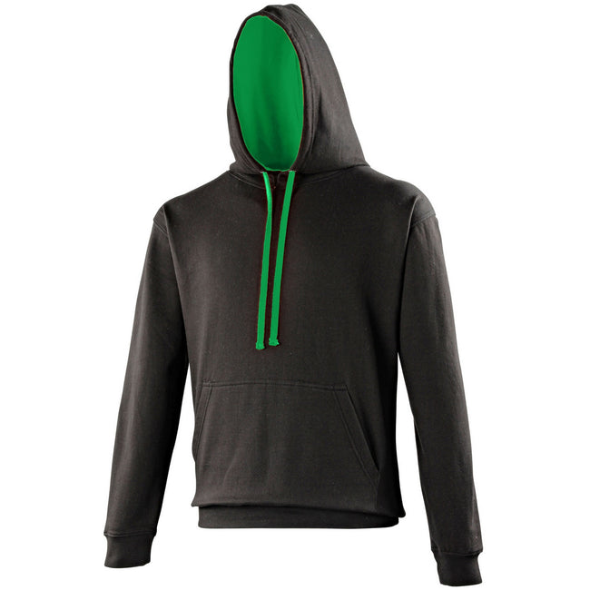 Jet Black-Kelly Green - Front - Awdis Varsity Hooded Sweatshirt - Hoodie