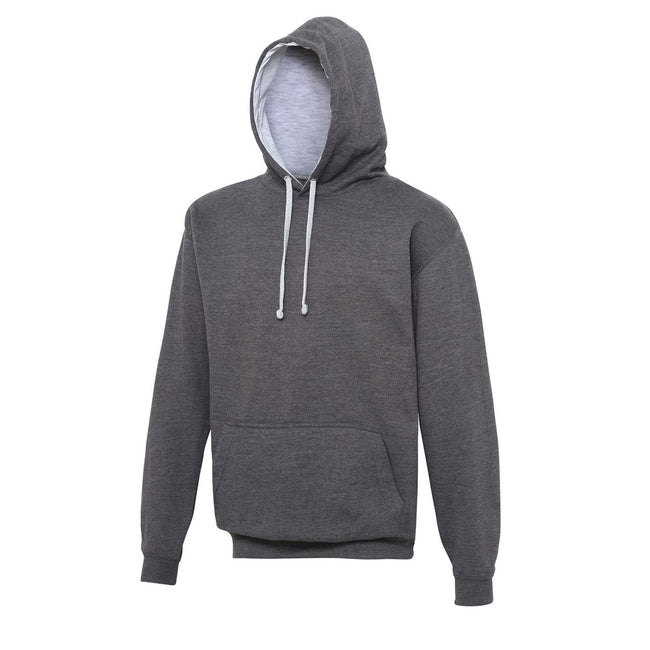 Burgundy- Oxford Navy - Front - Awdis Varsity Hooded Sweatshirt - Hoodie
