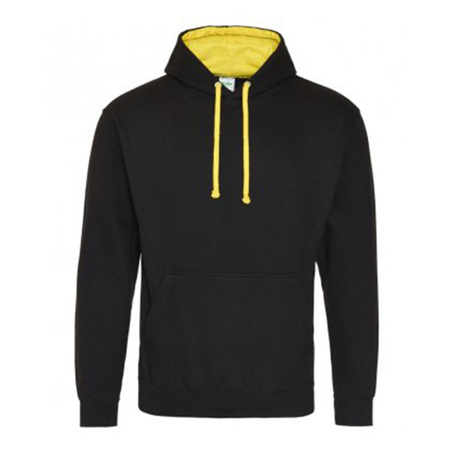 Jet Black - Heather Gray - Side - Awdis Varsity Hooded Sweatshirt - Hoodie