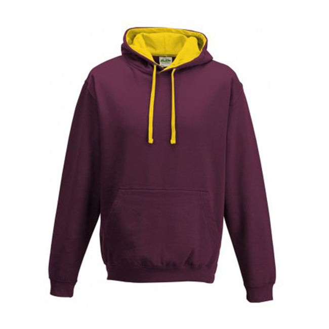 Burgundy- Gold - Back - Awdis Varsity Hooded Sweatshirt - Hoodie