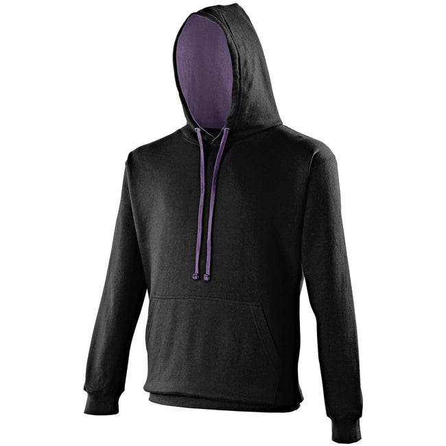 Jet Black - Heather Gray - Lifestyle - Awdis Varsity Hooded Sweatshirt - Hoodie