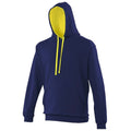 Jet Black- Purple - Back - Awdis Varsity Hooded Sweatshirt - Hoodie
