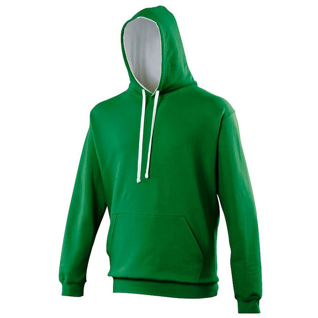 Kelly Green - Sun Yellow - Front - Awdis Varsity Hooded Sweatshirt - Hoodie