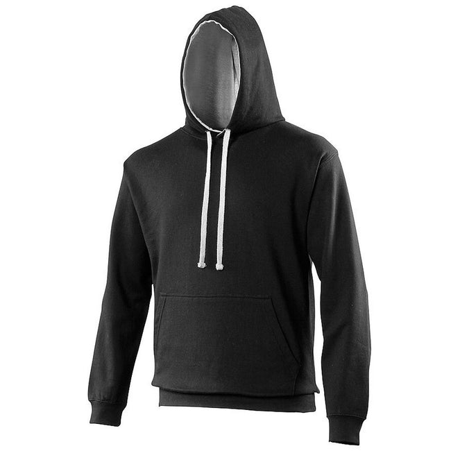 Kelly Green-Arctic White - Front - Awdis Varsity Hooded Sweatshirt - Hoodie