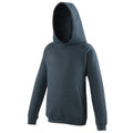 New French Navy - Front - Awdis Kids Unisex Hooded Sweatshirt - Hoodie - Schoolwear