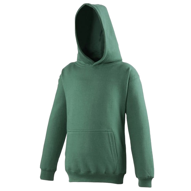 Bottle Green - Front - Awdis Kids Unisex Hooded Sweatshirt - Hoodie - Schoolwear