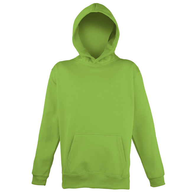 Electric Green - Front - Awdis Childrens Unisex Electric Hooded Sweatshirt - Hoodie - Schoolwear