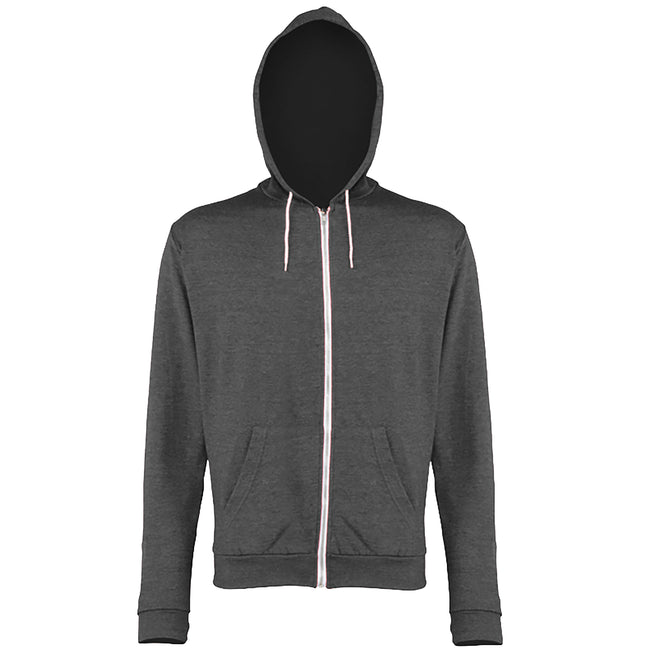 Grey Heather - Front - Awdis Mens Heather Lightweight Hooded Sweatshirt - Hoodie - Zoodie
