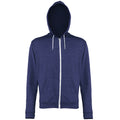 Navy Heather - Front - Awdis Mens Heather Lightweight Hooded Sweatshirt - Hoodie - Zoodie