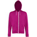 Pink Heather - Front - Awdis Mens Heather Lightweight Hooded Sweatshirt - Hoodie - Zoodie