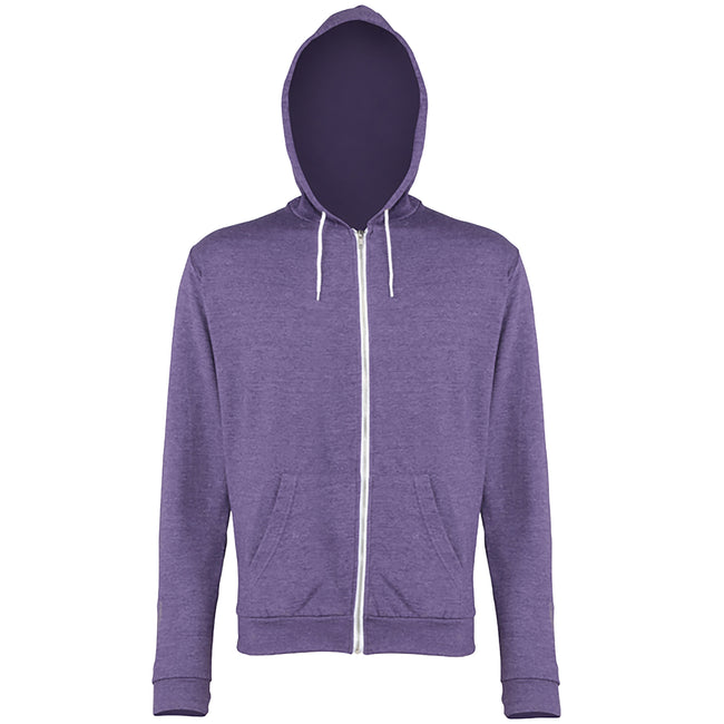 Purple Heather - Front - Awdis Mens Heather Lightweight Hooded Sweatshirt - Hoodie - Zoodie