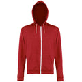 Red Heather - Front - Awdis Mens Heather Lightweight Hooded Sweatshirt - Hoodie - Zoodie