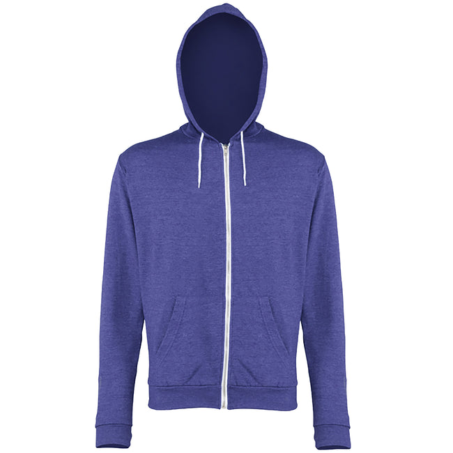 Royal Heather - Front - Awdis Mens Heather Lightweight Hooded Sweatshirt - Hoodie - Zoodie