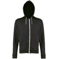 Black Heather - Front - Awdis Mens Heather Lightweight Hooded Sweatshirt - Hoodie - Zoodie