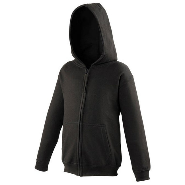 Deep Black - Front - Awdis Kids Unisex Hooded Sweatshirt-Hoodie-Zoodie