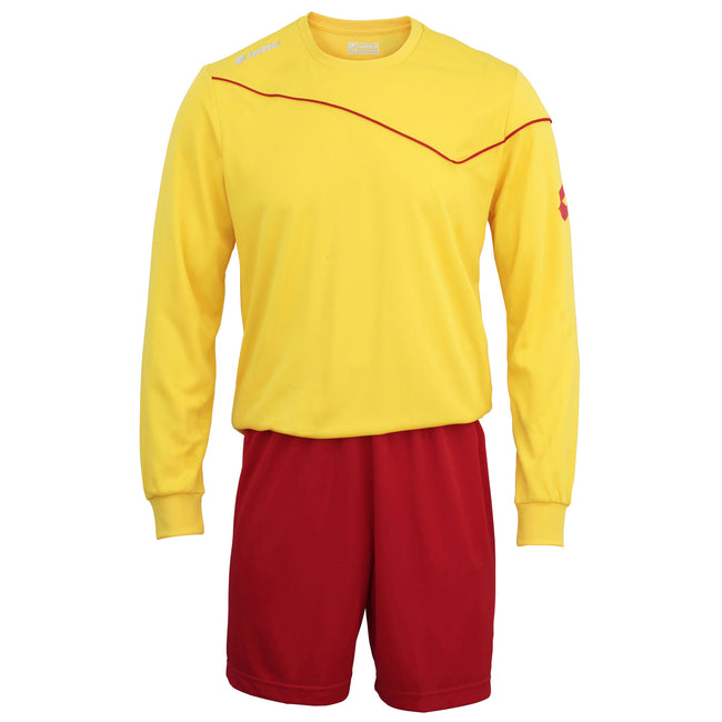 Navy - Front - Lotto Big Boys Football Sports Kit Long Sleeve Sigma (Full Kit Shirt & Shorts)