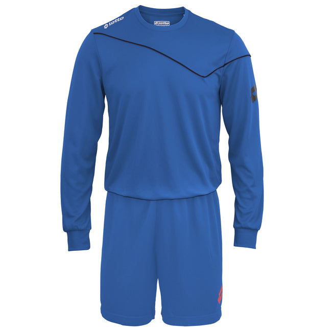 Royal - Front - Lotto Big Boys Football Sports Kit Long Sleeve Sigma (Full Kit Shirt & Shorts)